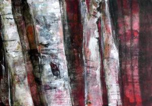 """Birkenstämme"", Acryl auf Leinwand, 50cm x 70cm, 2006"