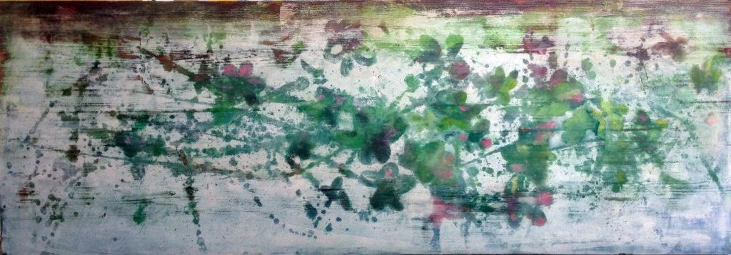 Blüten auf weiss Acryl von Sylvia Heuser